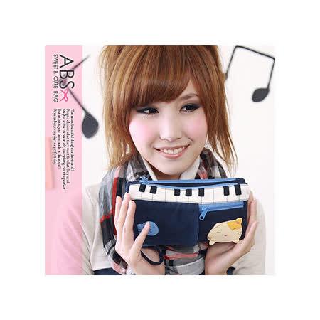 ABS貝斯貓 鋼琴貓咪拼布雙層拉鍊錢包 長夾(海洋藍)88-150