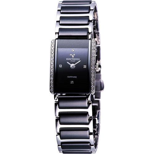 Valentino 黑曜石光芒晶鑽陶瓷女錶(SL367491SJW)-黑