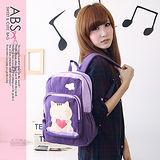 ABS貝斯貓 可愛貓咪手工拼布後背包(甜美紫)88-142