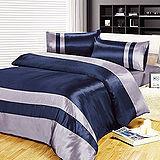 RODERLY【波光映藍】雙人加大四件式絲緞壓花被套床包組