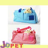 『J.D. PET寵物精品』-時尚格紋小寵物包(紅/藍)