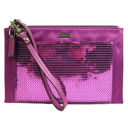 COACH 亮片拼緞布長型大手拿包(紫紅)