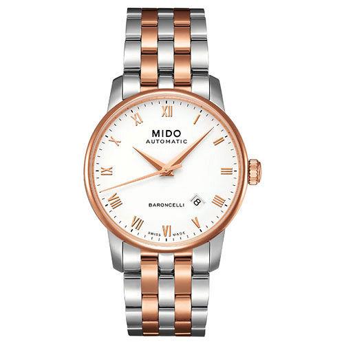 MIDO Baroncelli 復刻羅馬機械腕錶^(M86009N61^)~半金