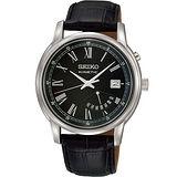 SEIKO Kinetic 星期逆跳人動電能腕錶(5M54-0AE0D)-黑
