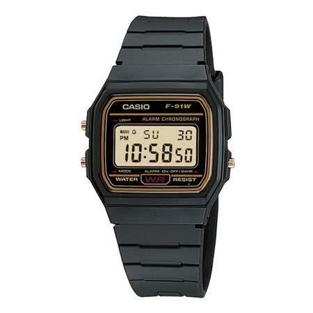 CASIO 復古潮流魅力電子錶(金框)