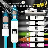 支援iOS8★HOCAR iPhone 6/5S/IOS/MIRCO USB 二合一果凍感 高速傳輸充電線