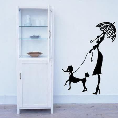 Art STICKER壁貼 。 Woman and dog walking (P008)