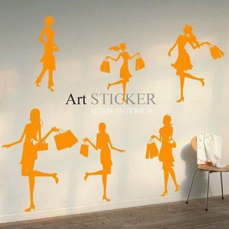 Art STICKER璧貼 。 Shopping girls (P014)