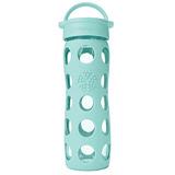 美國唯樂Lifefactory 繽紛彩色玻璃水瓶-平口450ml淺藍綠 LF220004