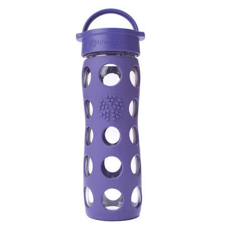 美國唯樂Lifefactory 繽紛彩色玻璃水瓶-平口450ml深紫 LF220003