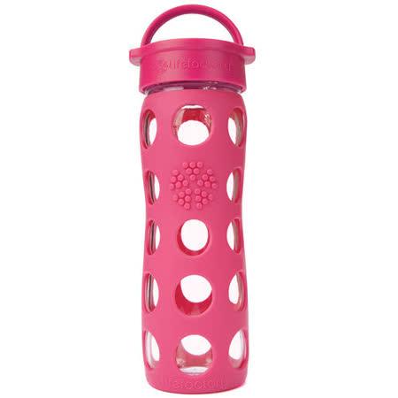 美國唯樂Lifefactory 繽紛彩色玻璃水瓶-平口450ml桃紅 LF220000