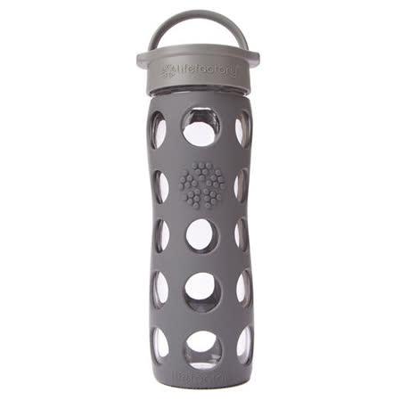 美國唯樂Lifefactory 繽紛彩色玻璃水瓶-平口450ml鐵灰 LF220005