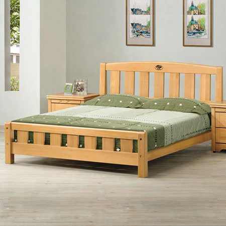 《顛覆設計》實木檜木色思比雙人床架(可加購床墊)
