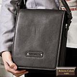 【Roberta Colum】時尚質感鉚釘軟牛皮實用長方形斜背包-咖