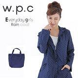 日本狂賣【w.p.c.】日系經典款。時尚雨衣/風衣(R1001)-深藍點點