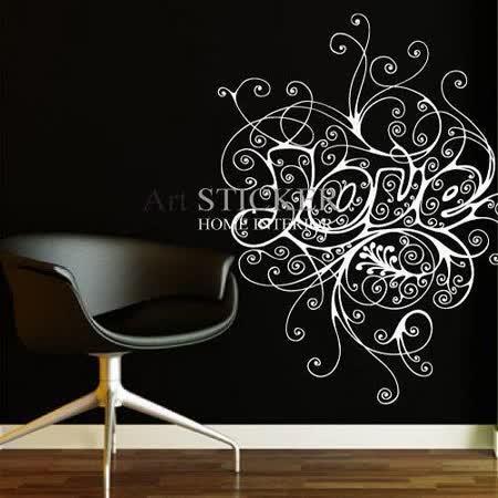 Art STICKER壁貼 。 花紋LOVE (W007)