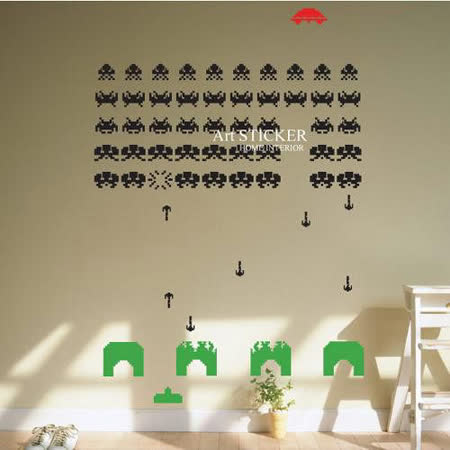 Art STICKER璧貼 。 Space invaders (W046)
