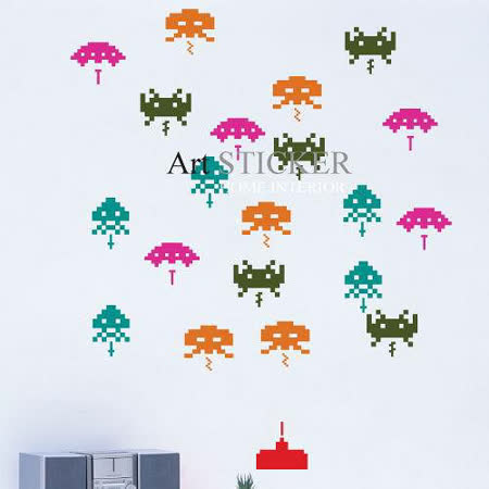 Art STICKER璧貼 。 Invader2 (W070)