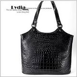 【LYDIA】真皮氣質鱷紋手提包