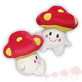 彩虹森林系列-磨菇寶寶12吋絨毛電繡填充玩偶-紅