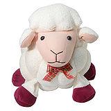 彩虹森林-喜羊羊立體格紋毛巾布填充玩偶-米白色