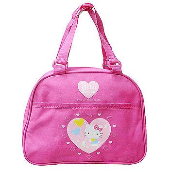 Hello Kitty 愛心氣球拉鍊式便當餐袋-氣質桃紅