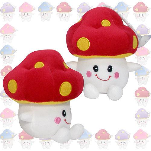 彩虹森林系列-磨菇寶寶7吋絨毛電繡填充玩偶-紅