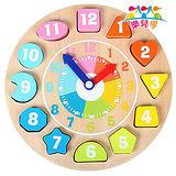 【樂兒學】可愛動物時鐘益智木製學習積木