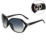 GUCCI-時尚太陽眼鏡(黑色/透明紫/透明棕)