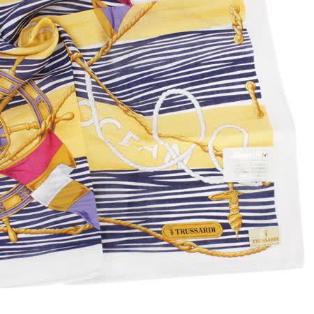 TRUSSARDI 海洋風情純棉帕巾-黃