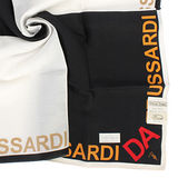 TRUSSARDI 字母飾邊雙色純棉帕巾-黑/白