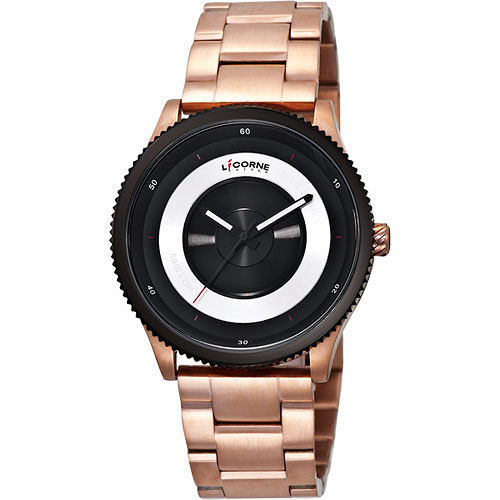 LICORNE 焦距系列完美無限時尚腕錶(LI009MTBI)-玫瑰金/43mm