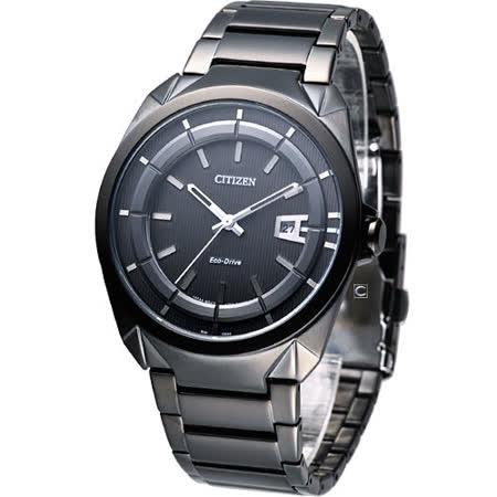 CITIZEN  Eco-Drive 光動能 簡約紳士時尚腕錶-(AW1015-53E)IP鍍黑色