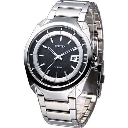 CITIZEN  Eco-Drive 光動能 簡約紳士時尚腕錶-(AW1010-57E)黑色