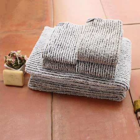 【MORINO摩力諾】速乾吸水好攜帶/ 竹炭超細纖維條紋方巾
