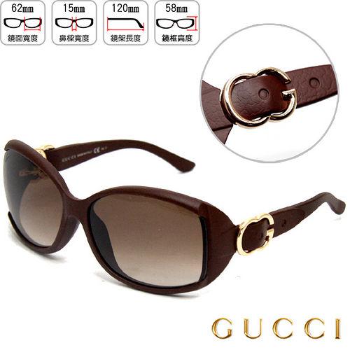 【GUCCI】時尚太陽眼鏡(仿皮革感)