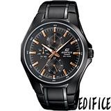 CASIO EDIFICE 爵士優雅 時尚腕錶-(EF-339BK-1A9)玫瑰金刻度