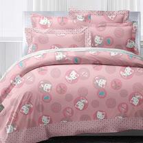 【享夢城堡】HELLO KITTY 漫遊香榭系列-雙人床包兩用被組