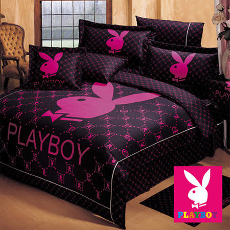 【PLAYBOY-經典時尚】雙人八件式絲棉兩用被床罩組-黑桃