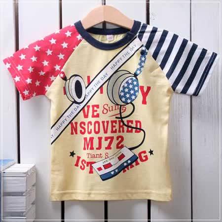 (購物車)魔法Baby ~韓版美國旗印花短袖潮T(黃)~時尚設計童裝~k19766