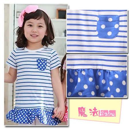 (購物車)魔法Baby ~韓版甜美系條紋套裝(藍)~時尚設計童裝~k19803
