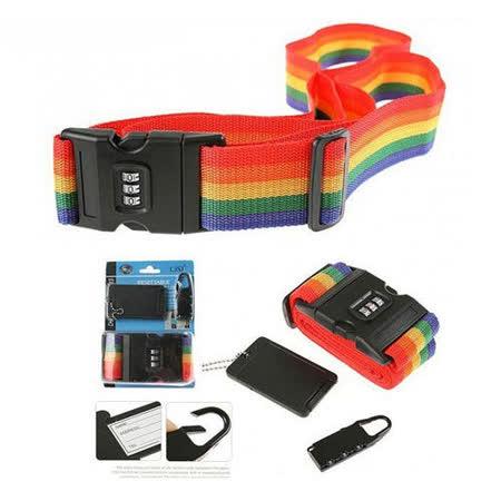 【遠銀】PUSH!旅遊用品三件組 行李束帶+行李吊牌+密碼鎖