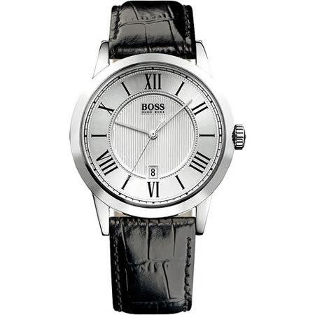 Hugo Boss 歐式羅馬風簡約腕錶(H1512439)-銀/黑