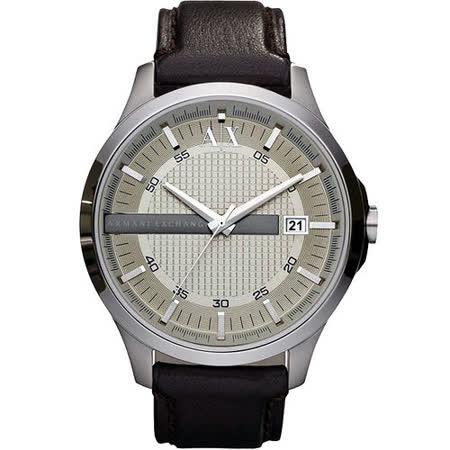 A│X Armani Exchange 雅痞時尚風格腕錶(AX2100)-銀/咖啡