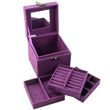 【iSFun】復古提盒仿兔絨三層首飾盒/紫