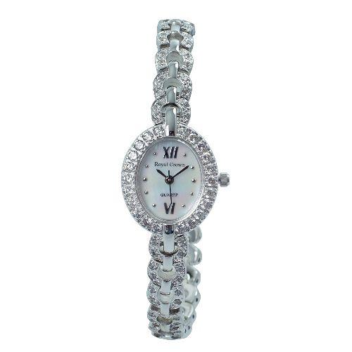 Royal Crown晶鑽絢爛圓形滿鑽腕錶-晶鑽銀RC2100