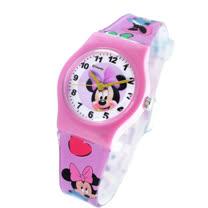 Disney活力米妮圖案紅色膠帶卡通錶