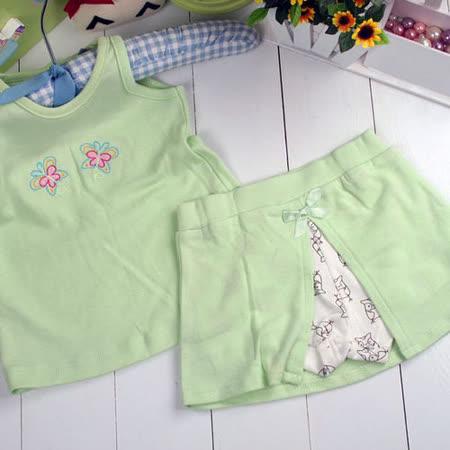 (購物車)魔法Baby~美國卡特士女童夏季裙褲套裝~k00194-綠
