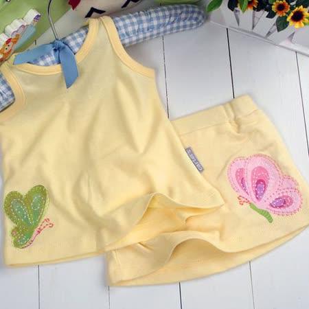 (購物車)魔法Baby~美國卡特士女童夏季裙褲套裝~k00194-黃