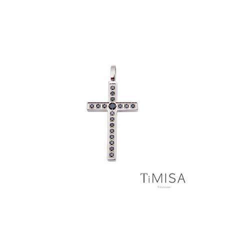 【TiMISA】閃耀十字 純鈦墜飾-黑